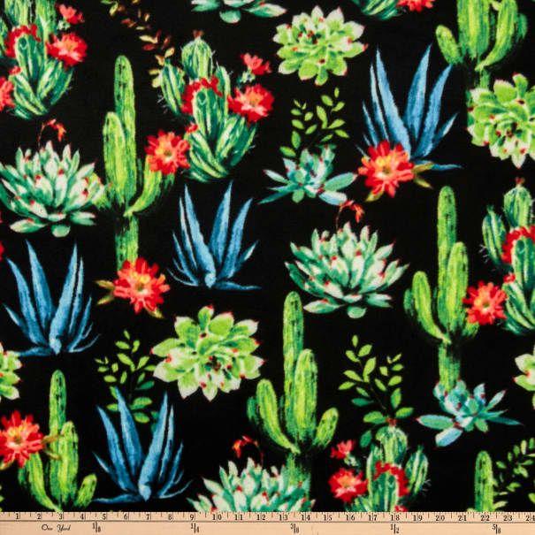 Baum Winterfleeces Desert Blooms Black - Fabric.com