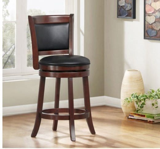 Swivel Bar Stool Counter Height With Back 24 Inch Brown Wood Kitchen