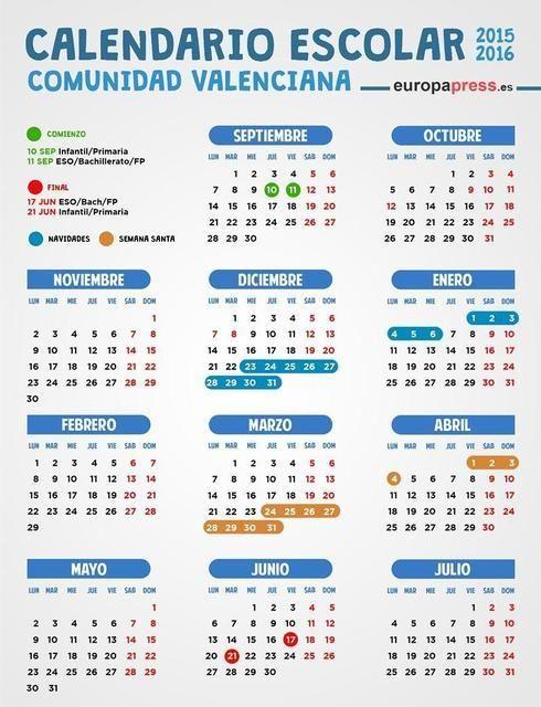 Calendario escolar valencia 2015 2016 festivos y puentes for Festivos alicante 2017