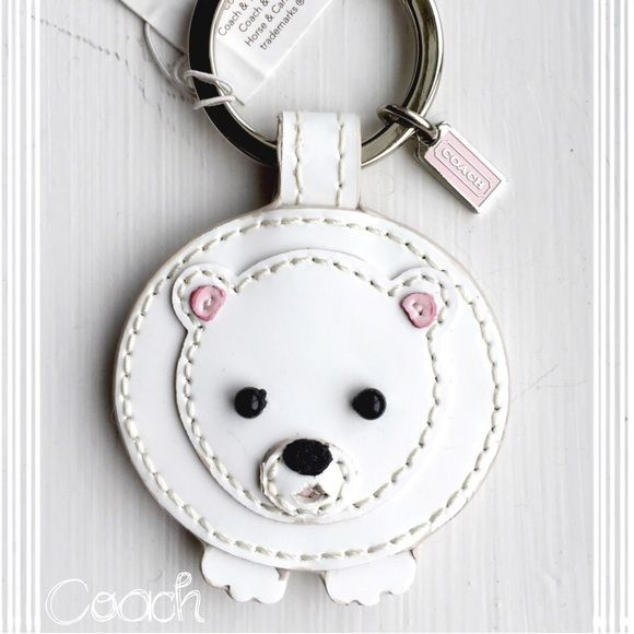 Authentic Coach Keychain Mink Polar Bear NWT NWT Coach Mink/Patent Leather Polar Bear Keyring~NWT~Comes in box~Smoke Free Home~~No Trades Coach Accessories Key & Card Holders