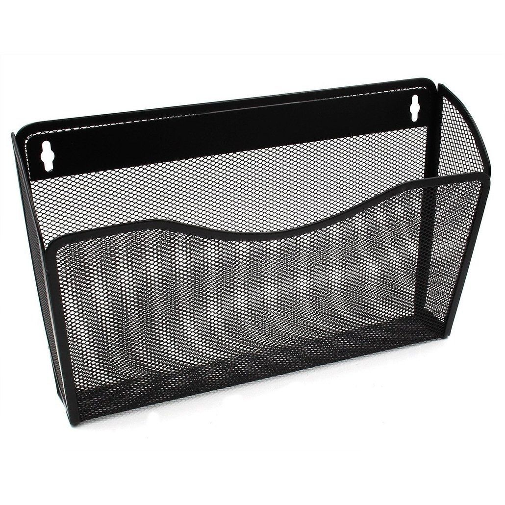 Ybm Home Single Pocket Office Mesh Wall Mount Hanging File Holder Organizer Vertical Rack Black 13 1 In L 3 75 In W 8 5 In L Office Wall Organization Hanging Files Wall Organization