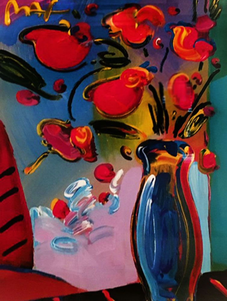 Vase Of Flowers 2000 29x34 By Peter Max Mixed Media And Oil On