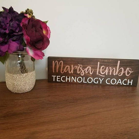 Personalized Desk Name Plate Teacher Desk Sign Wooden Name Sign