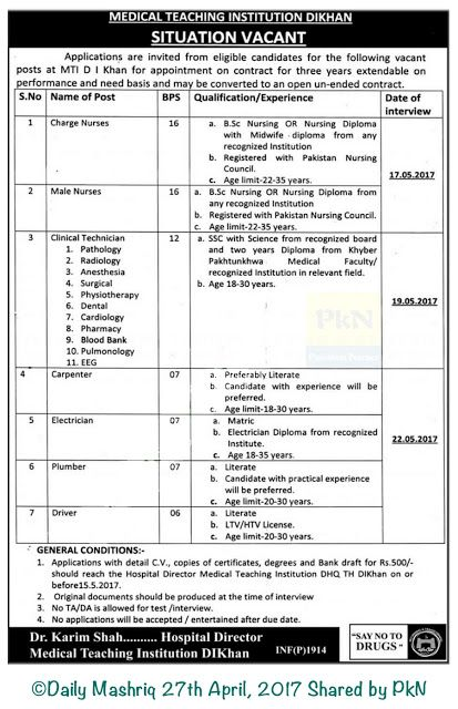 Male and Female Nurses Government Jobs KPK Charge Nurses and Male - radiologist job description