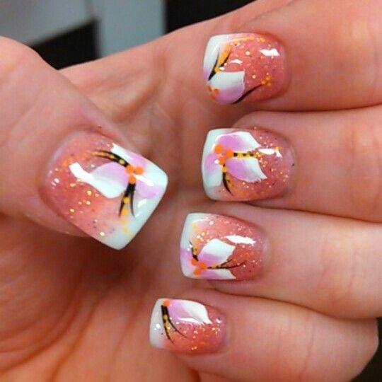 gel nails spring flower design