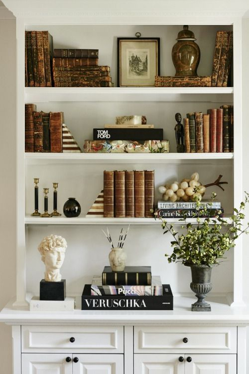 Bookshelf Decorating Ideas. Love the white bust, green plant, and earth  tone books