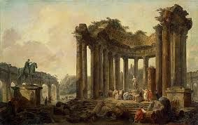 Hubert Robert Landscape with ruins of a round temple, with a statue of Venus and the monument to Marcus Aurelius. 1789. Oil on canvas