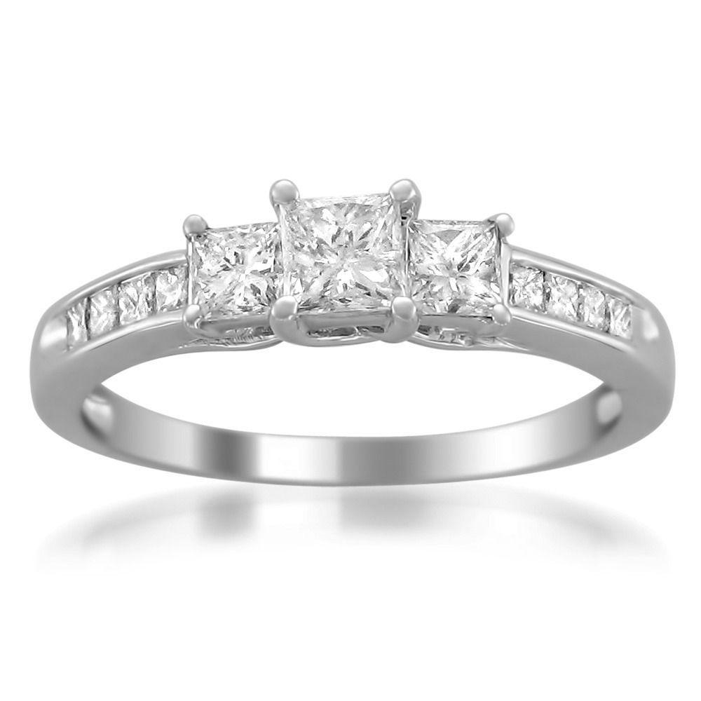 Miadora signature collection 14k white gold 1ct tdw diamond double row - Montebello 14k White Gold 1ct Tdw Princess Cut Diamond Engagement Ring H I I1