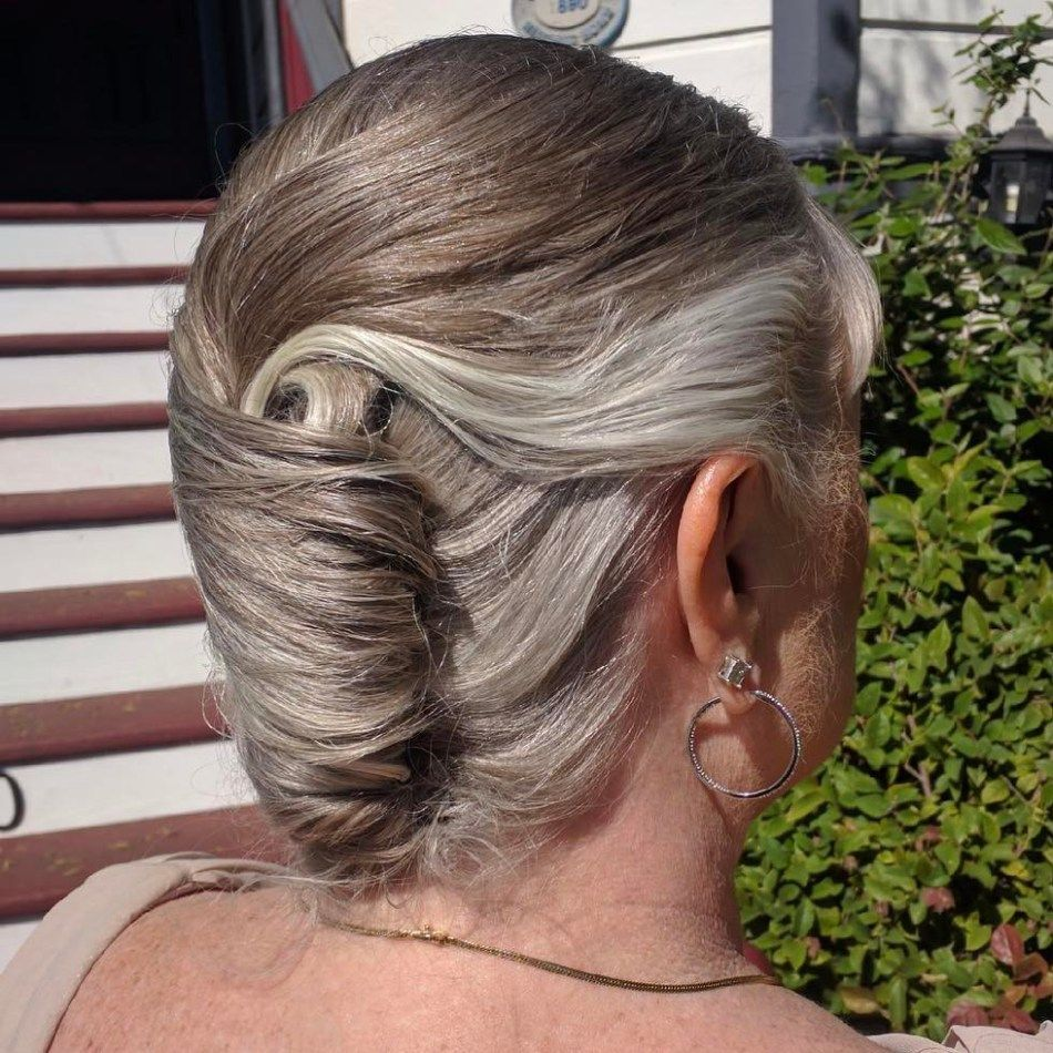 Older Women's French Roll Updo #frenchtwisthairstyle | Long hair styles,  French twist hair, Older women hairstyles