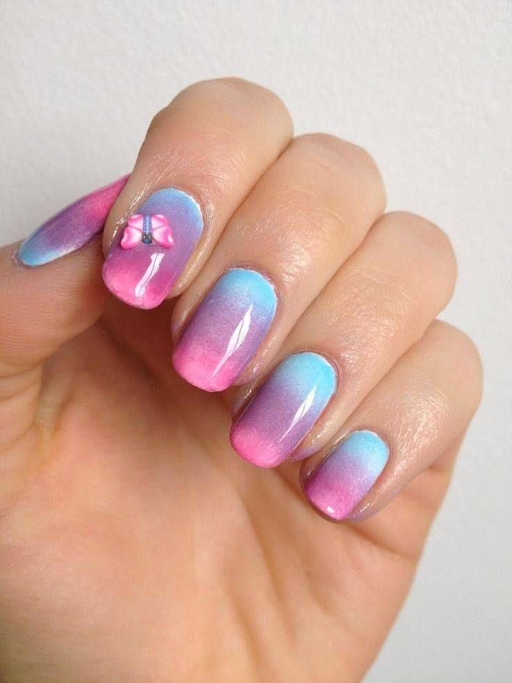 pastel gradient pink purple blue nails