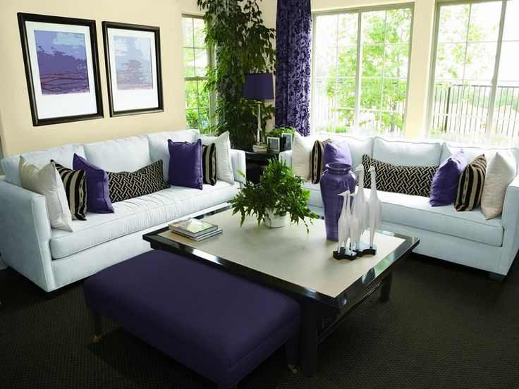 Neutral Paint Colors for Living Room with Purple Decorating Ideas