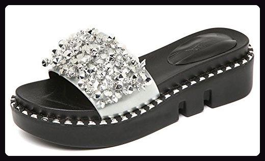 Aisun Damen Fashion Metallic Strass Perlen Durchgängig Plateau Bequem Flach Pantolette Silber 39 EU BLW07FADb8