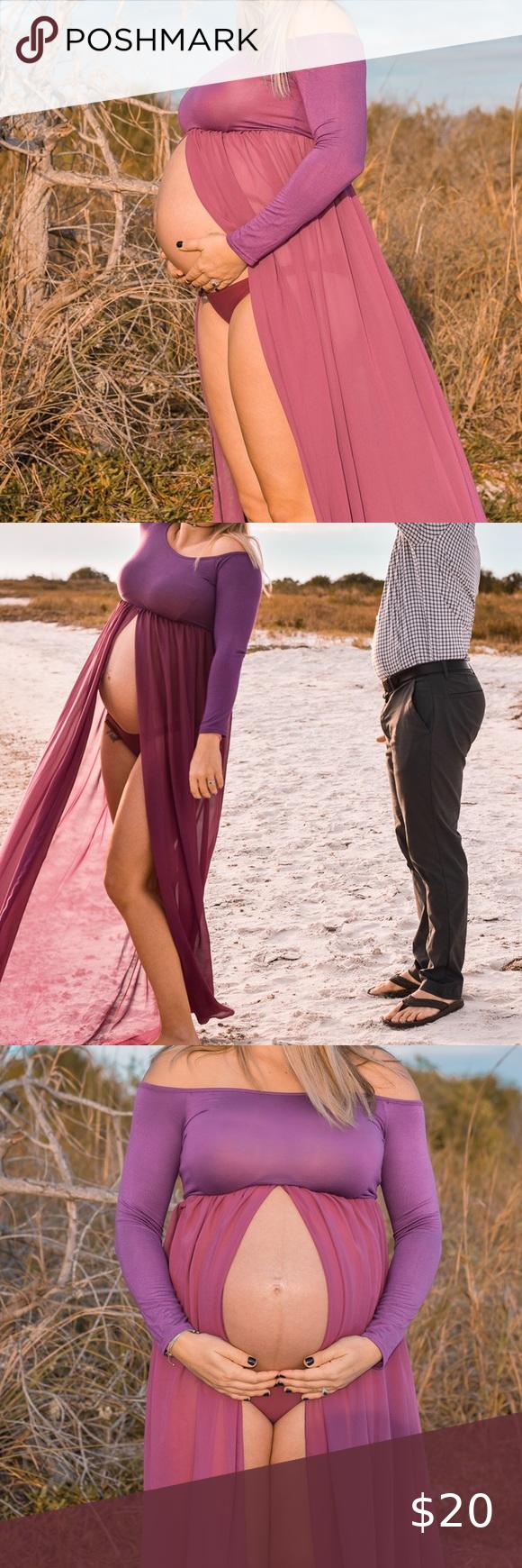 Photo of Maternity Maxi Photo Shoot Dress Beautiful deep purple Off shoulder Open belly s…