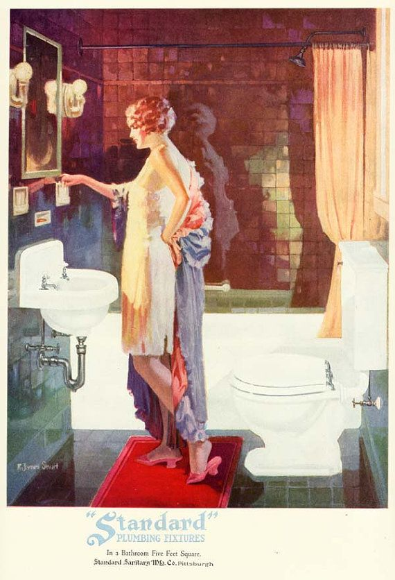 Vintage 1920s ART DECO Flapper Girl BATHROOM Sink Toilet Tub Bath Decorating Advertising Poster Fine Art Print