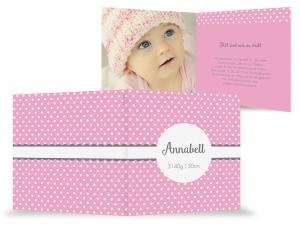 rosa Geburtskarte Baby mit Foto, Schriftzeile, Klappkarte, süß, Mädchen