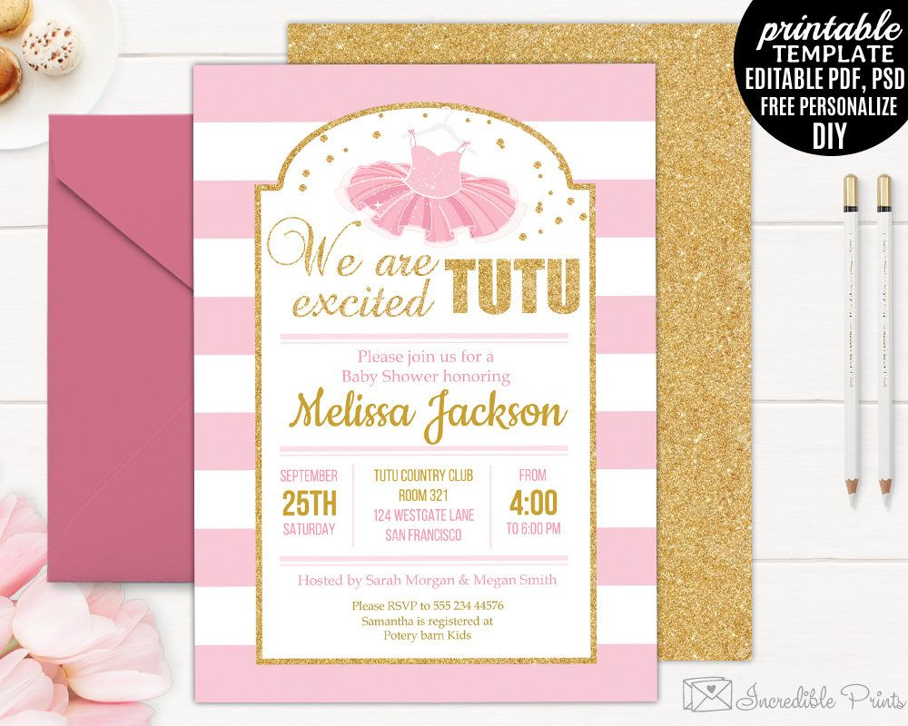 Printable Tutu Baby Shower Invitation Template We Are Tutu Excited Girl Baby Shower Invitations Baby Shower Invites For Girl Baby Shower Invitation Templates