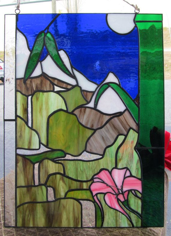 Gorgeous stained glass waterfall by glasshouseart2 on etsy for Waterfall design etsy