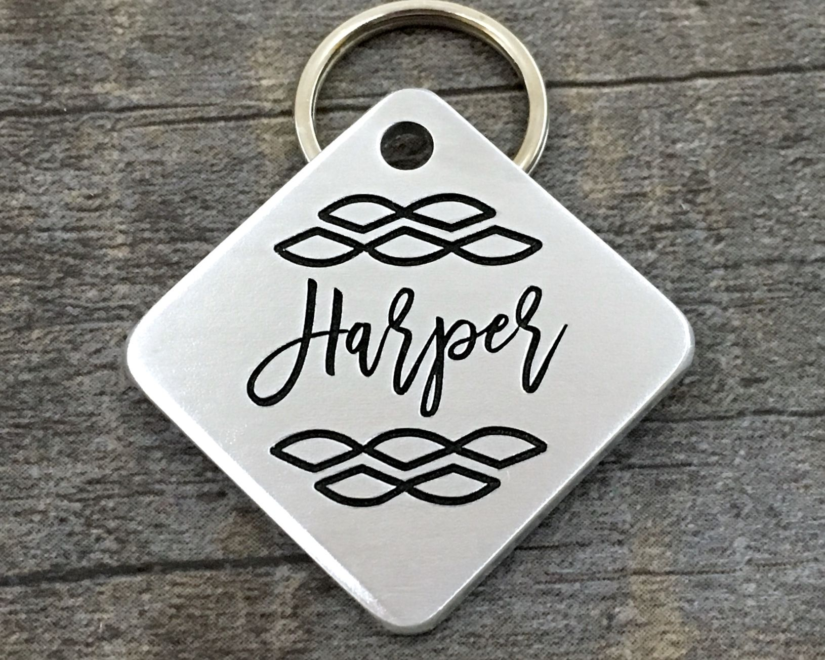 Nice Stylish Square Pet Id Tag Your Pet S Name Will Be Engraved On The Front And All Important Contact Information Will Pet Id Tags Engraved Pet Tags Pet Tags