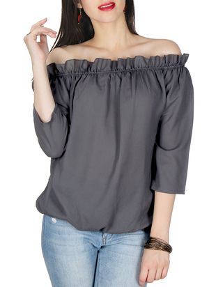 Pin By Pankh Vi On Stories Tops Western Wear Crepe Top
