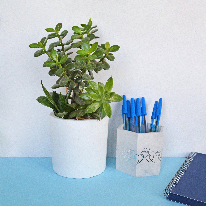 Concrete pencil holder for desk, Marble Succulent planter