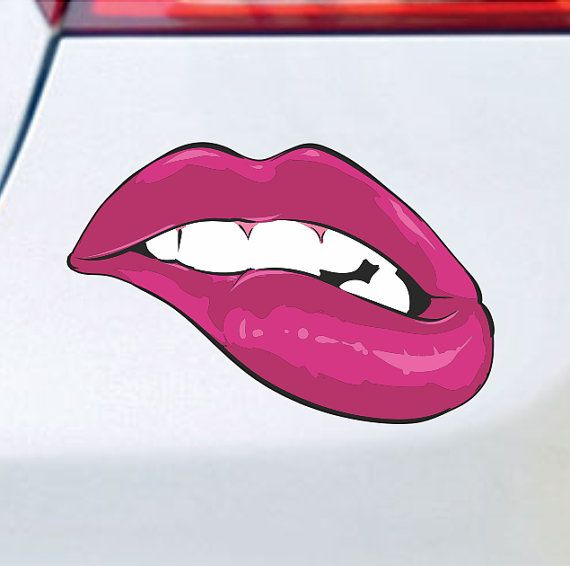 Lips Red Vinyl Car Window Cutout Sticker Decal Bumper