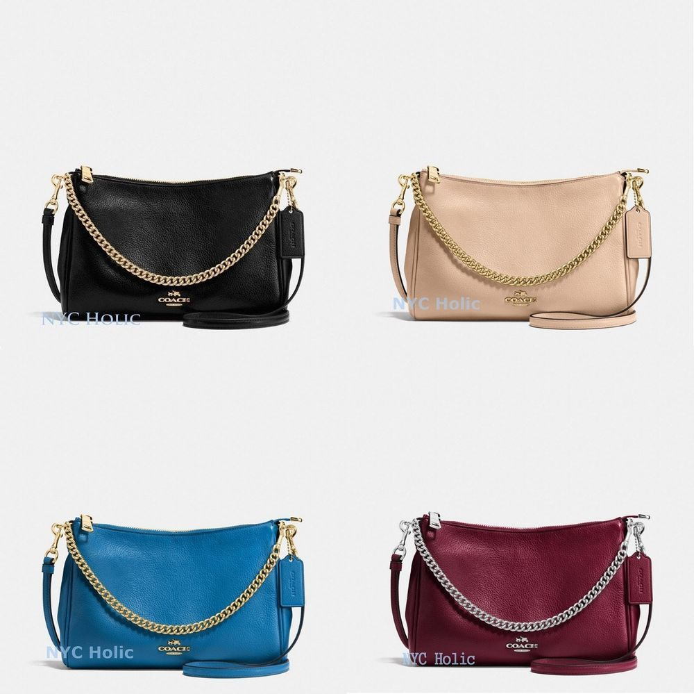 1cf06c65821bc New Coach F36666 F56126 Carrie Crossbody In Pebble Leather Black Yellow  Burgundy