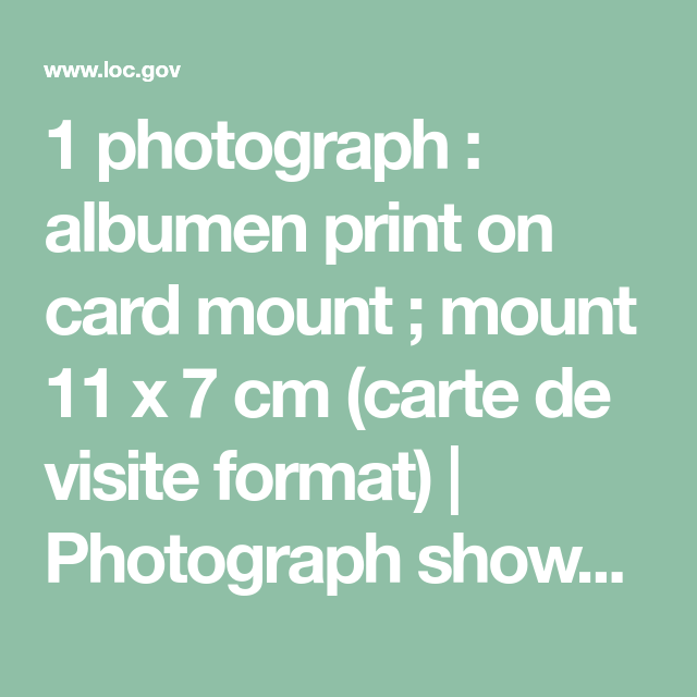 1 Photograph Albumen Print On Card Mount 11 X 7 Cm Carte