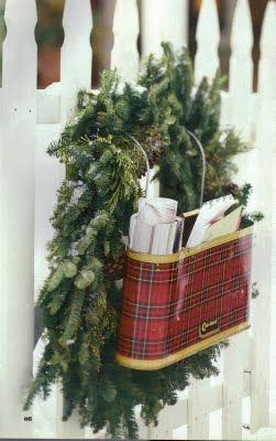 Vintage Red Plaid 1950's Car-Snac used as a primitive mailbox or Christmas card holder.
