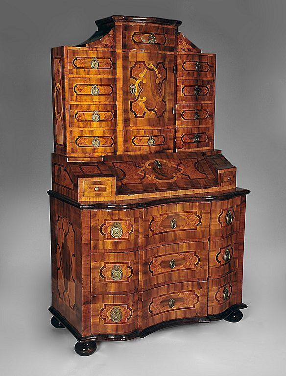 Bronze Mounted Walnut Parquetry Secretary Cabinet / Late 18th century / South German / incredible inlays!