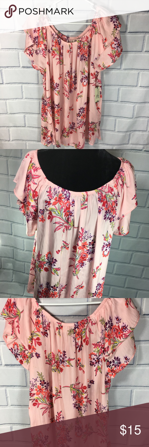 6ab48e4501393 Terra   Sky pink Floral On Off Shoulder Top New Terra   Sky pink Floral  On Off Shoulder Top Size 16 18 1x New With Tags - generous fit measures Pit  to Pit ...