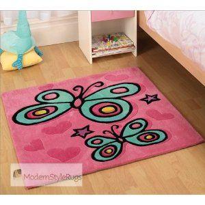 S Pink Erfly Bedroom Designer Modern Funky Kids Rug Jenn L Slater