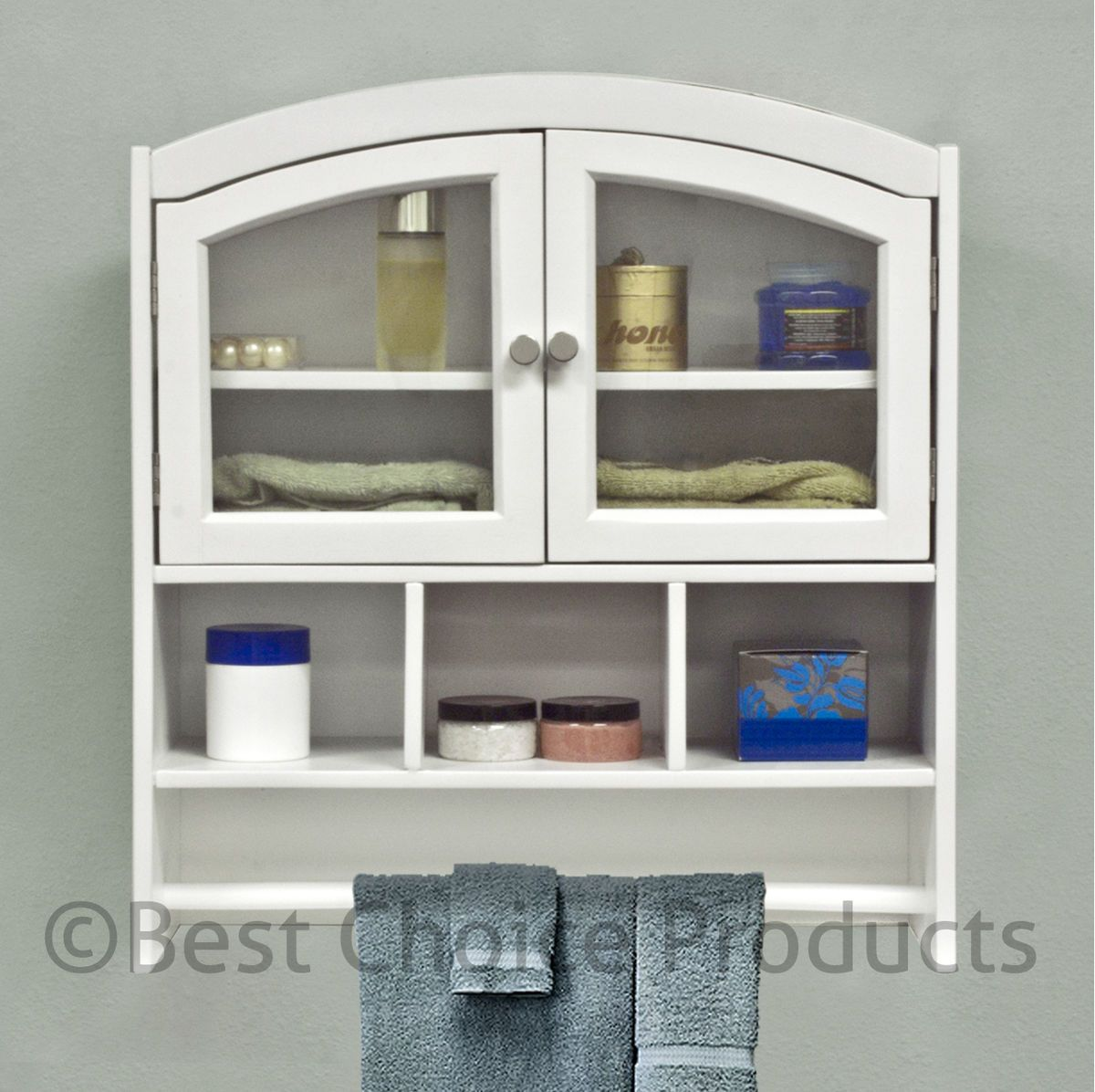 Bathroom Cabinet White Arch Top Bath Wall Mount Storage Cabinet Solid