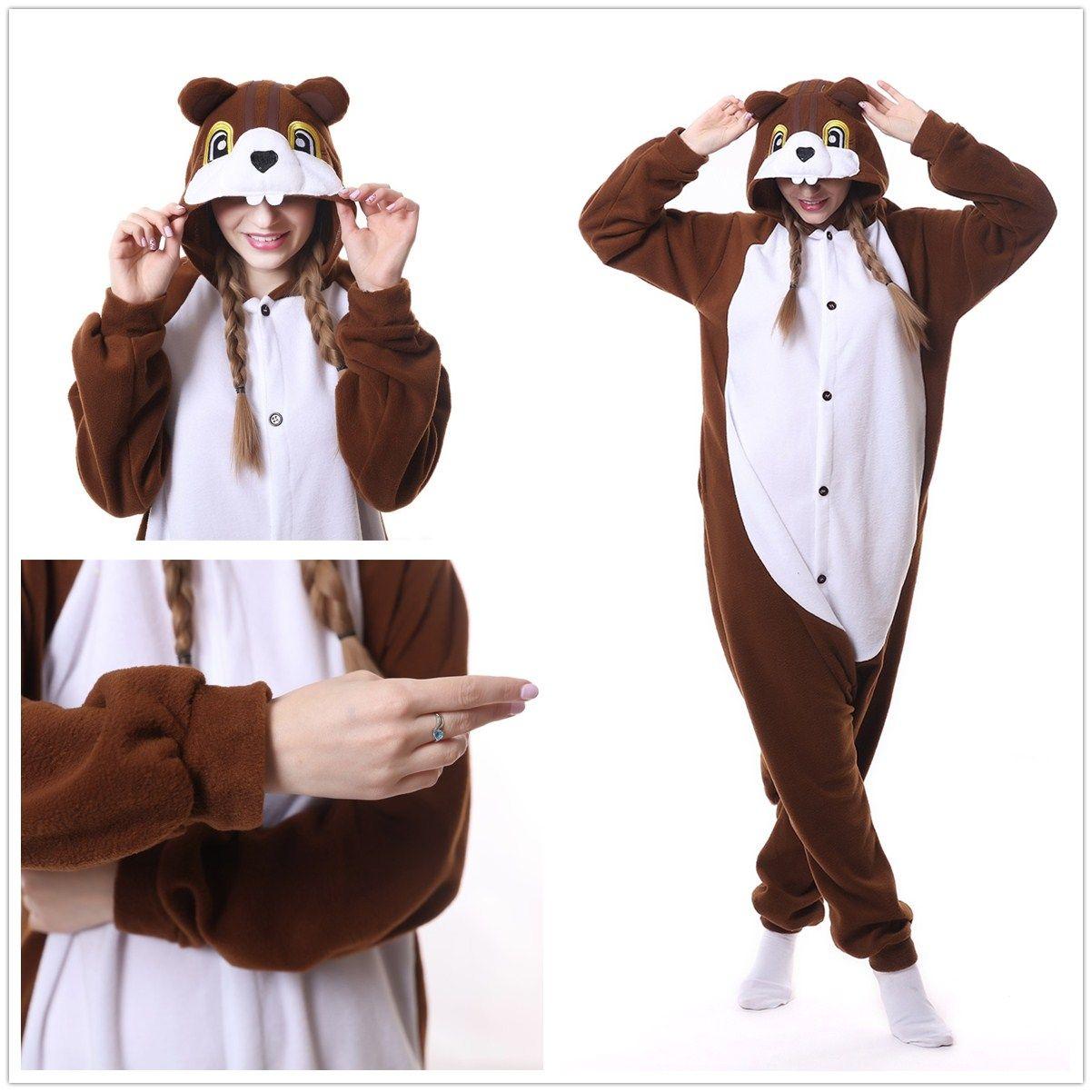 Coffee Squirrel Dale Kigurumi Onesie Pajama For Adult Costume & Coffee Squirrel Dale Kigurumi Onesie Pajama For Adult Costume ...
