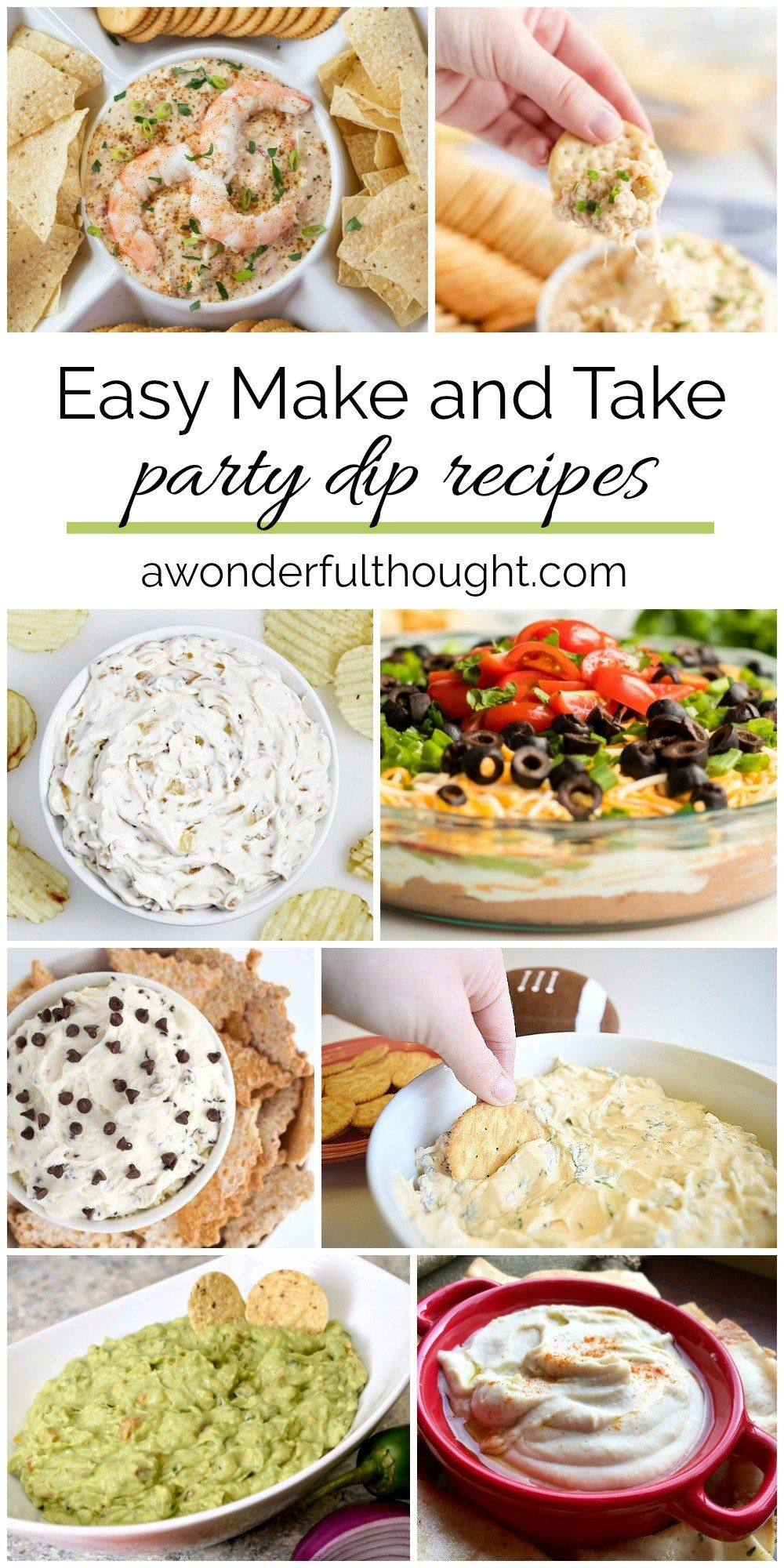 Abendessen Party Easy Make And Take Party Dip Recipes - A Wonderful Thought | Party Dip Recipes, Dip Recipes, Party Dips