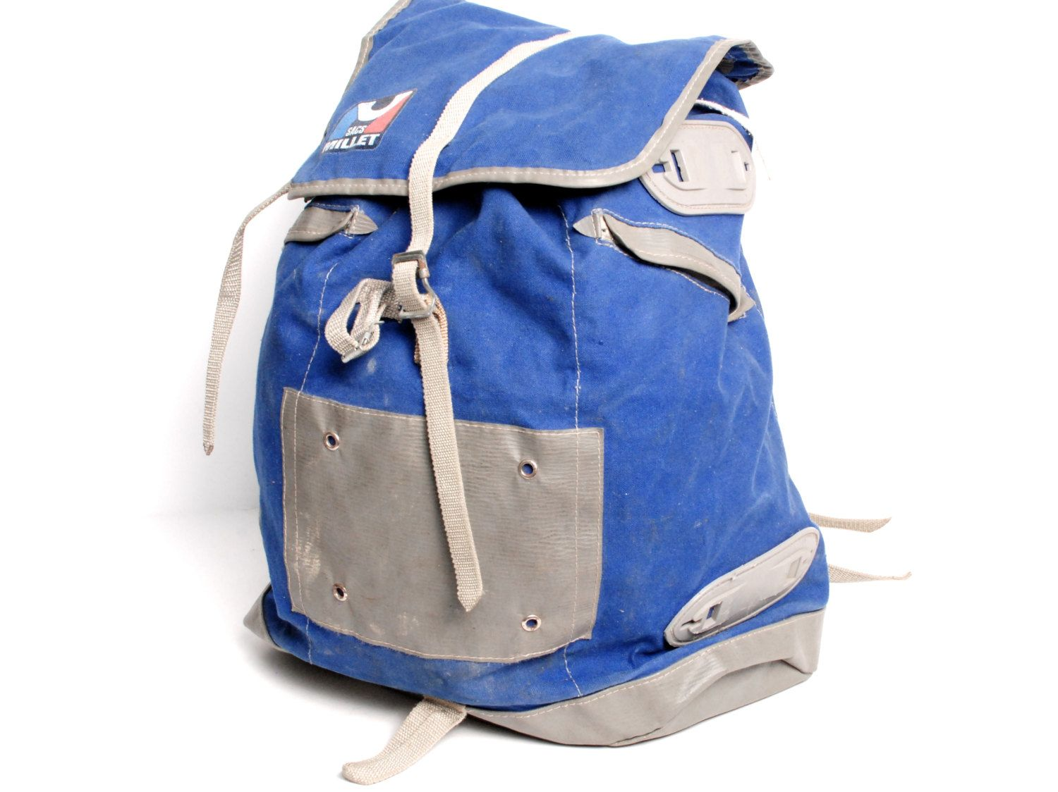 RUCKSACK blue canvas 70s 80s BACKPACK extra large FRAME day pack
