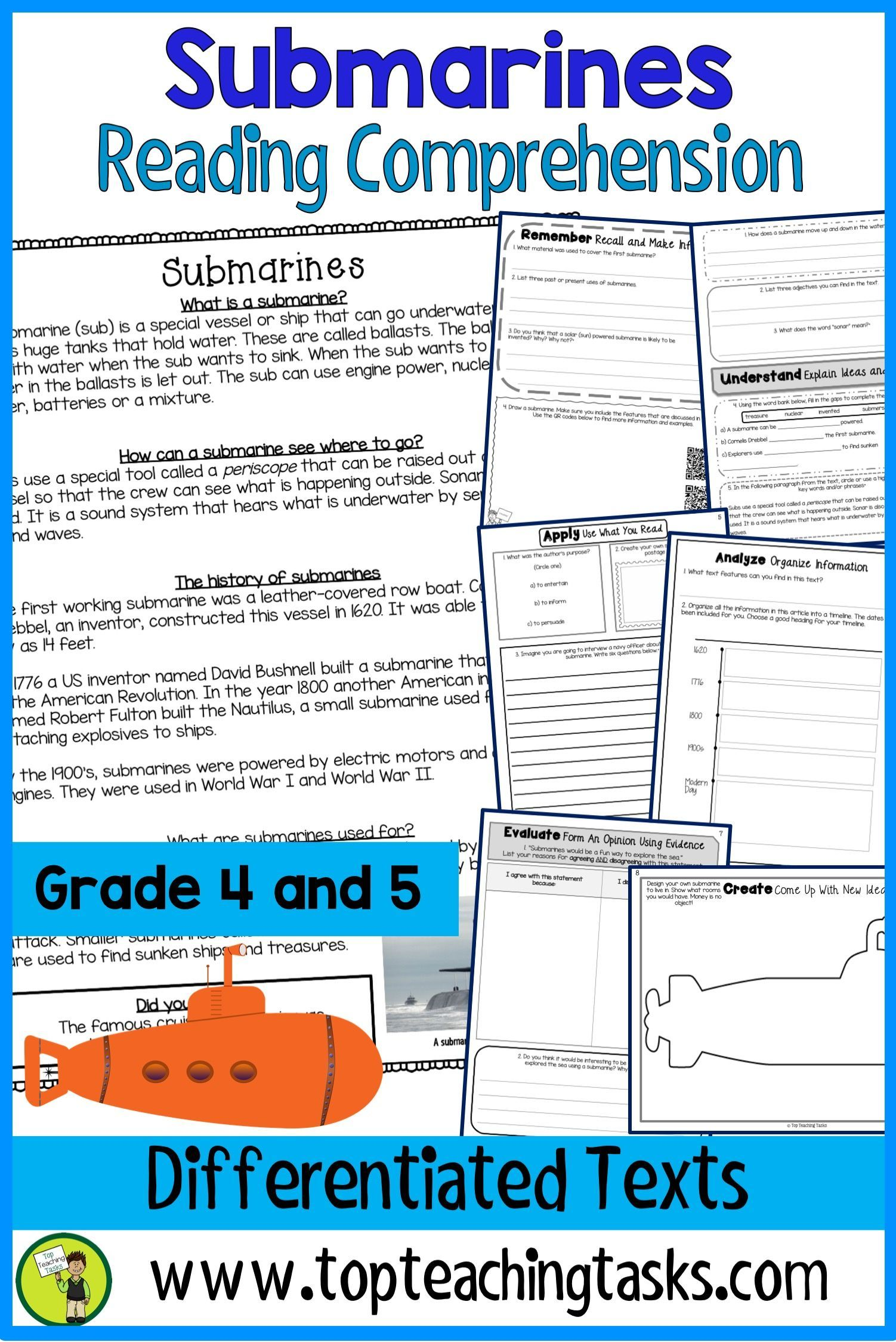 Submarines Reading Comprehension Passages And Questions