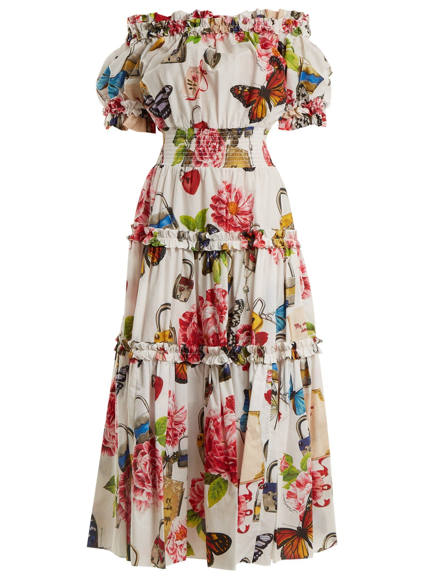 eb1a633ef83 Padlock and garden-print off-shoulder dress | Dolce & Gabbana |  MATCHESFASHION.COM US