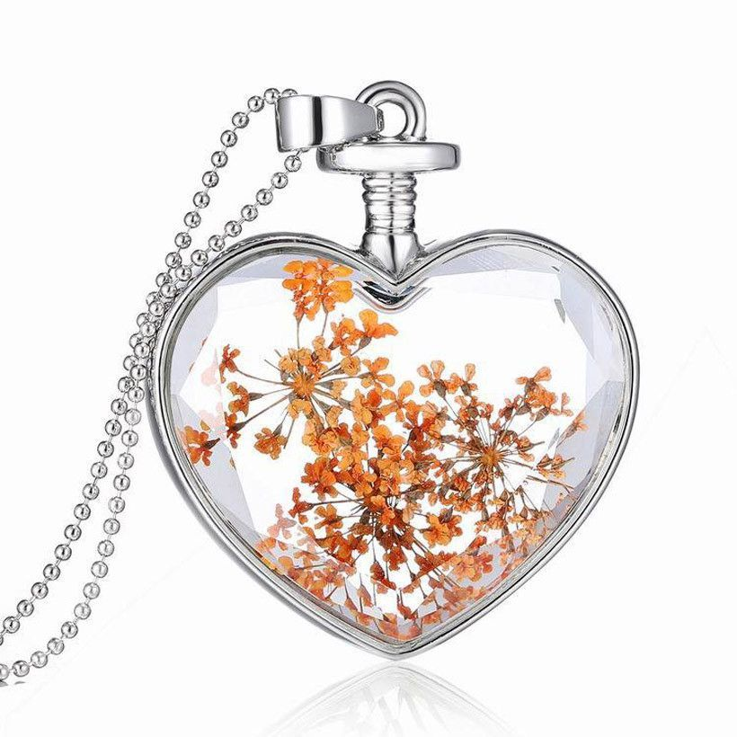 Fashion Necklaces For Women 2016 Silver Chain Glass Flowers Heart Pendant Necklace Choker Collares Mujer Long Crystal Necklace