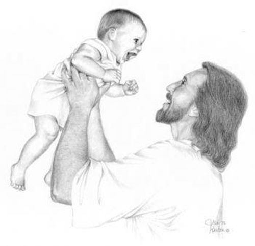 laughing baby was my very first drawing of jesus with a little child it was inspired by an experience where grief and heartache melted away and were