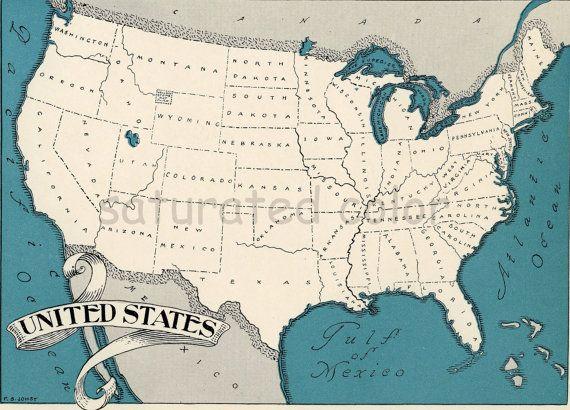 USA Map 1931 Original USA Vintage Picture Map - Antique Charming ...