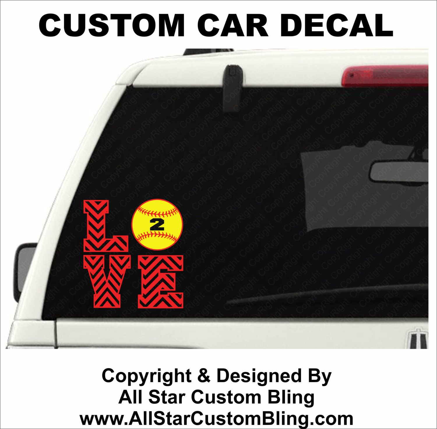Custom Love Softball Car Decal Custom Softball Car Decal - Custom vinyl baseball decals