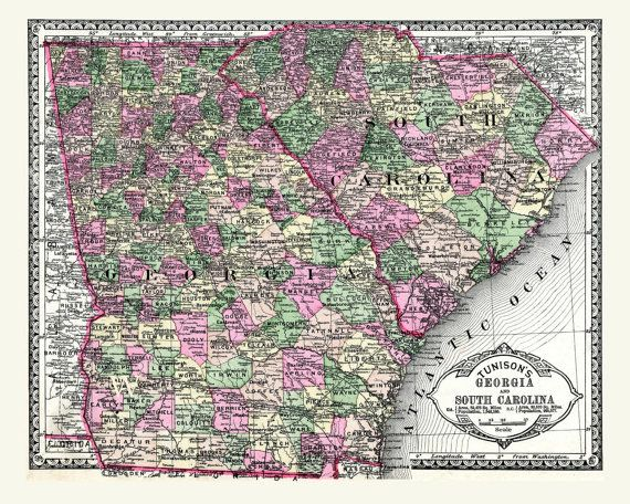 Antique digital map of Georgia South Carolina from the 1880s