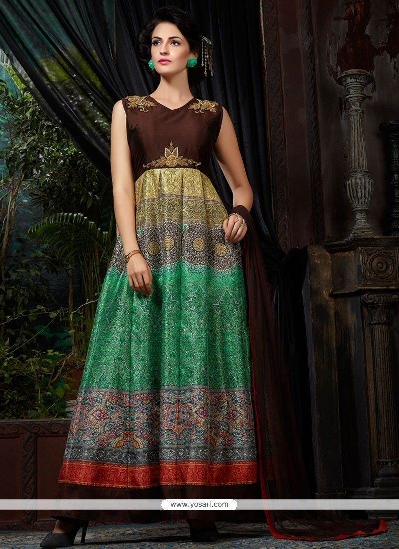 9a5f75f5167 Flamboyant Banglori Silk Embroidered Work Multi Colour Designer Gown Model…