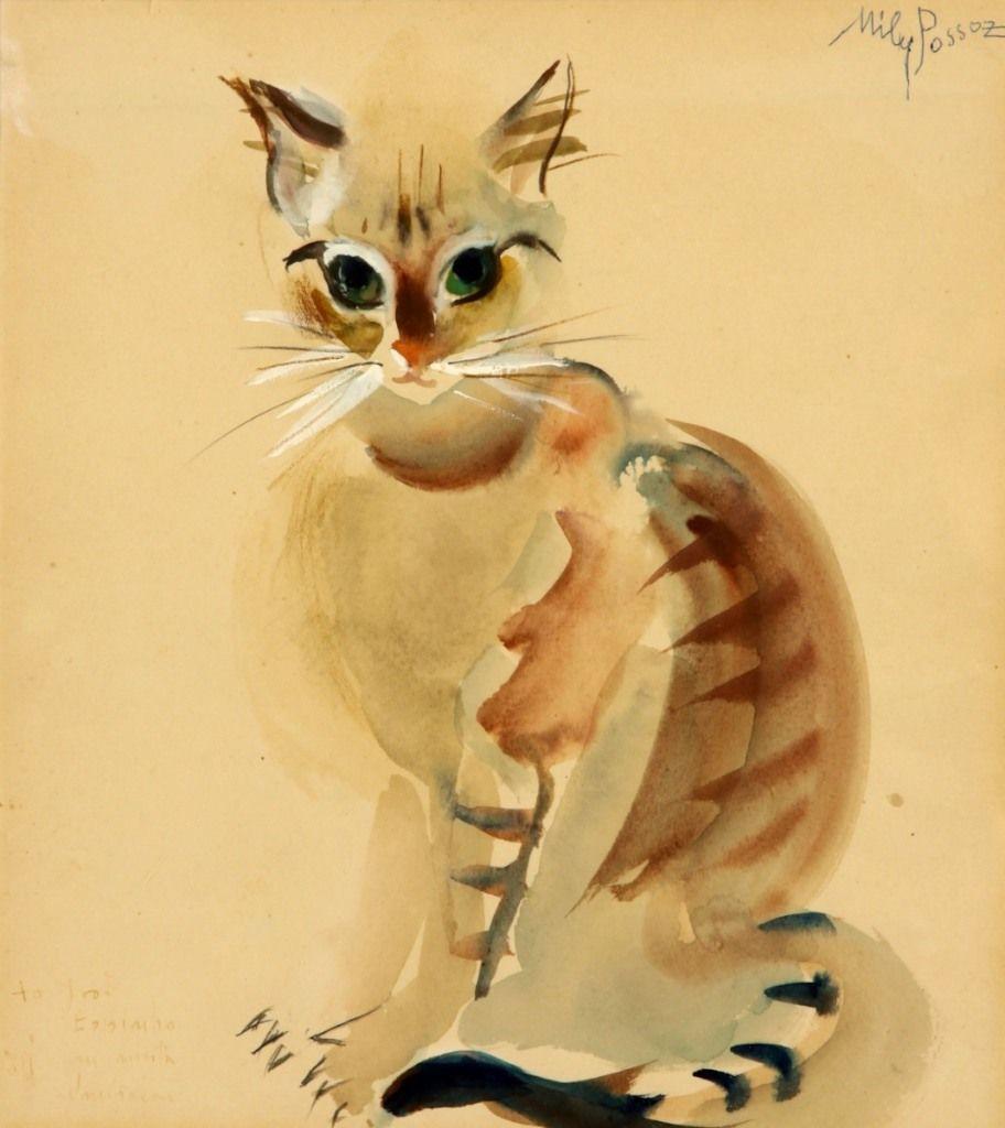 Cat Mily Possoz Wikipaintings Org Kitten Art Cat Art Cat Artwork