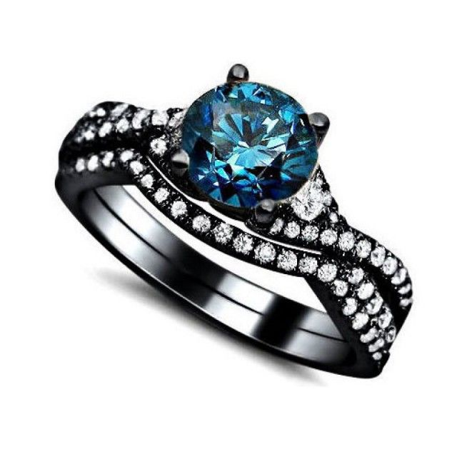 Vintage AAA Quality Blue Cubic Zirconia 925 Sterling Silver Black Engagement/Wedding Ring Bridal Set