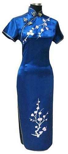 7b3aa694c9c1d De Robe chinoise longue à petites manches motif fleurs. Qipao traditionnelle
