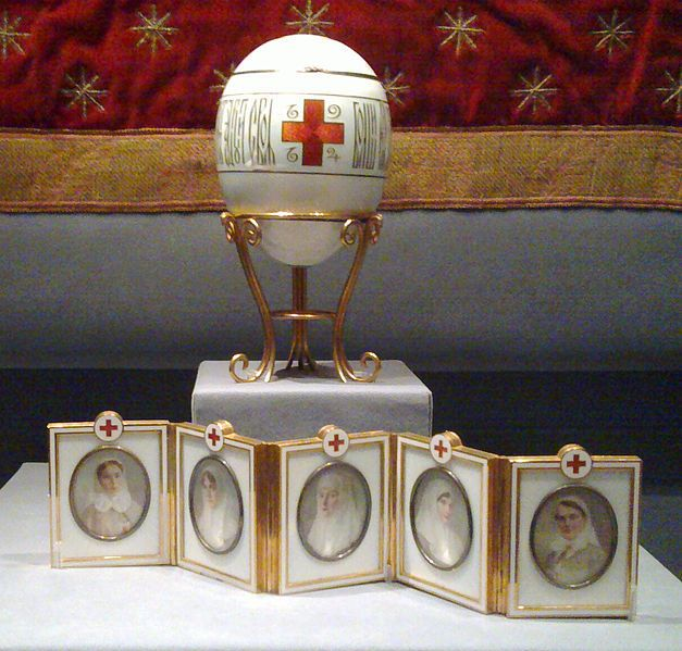 Faberg imperial red cross easter egg 1915 victoria carl faberg created the imperial red cross easter egg presented to empress alexandra by tsar nicholas ii in the portaits included the empress negle Gallery