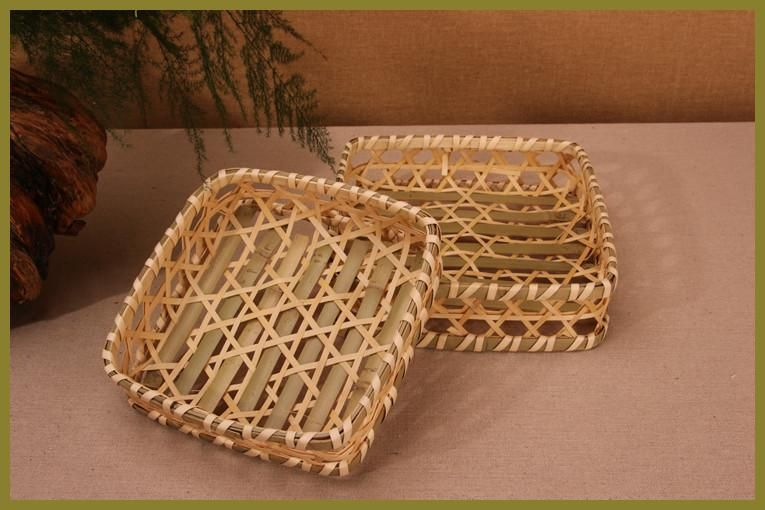 19cm Hand making a double square storage basket bamboo dustpan fruit ...