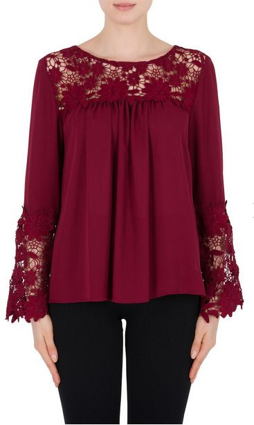 ddb2020ed57 Joseph Ribkoff Cranberry Red Lace Trimmed Bell Cuff Long Sleeve Top 184251  NEW