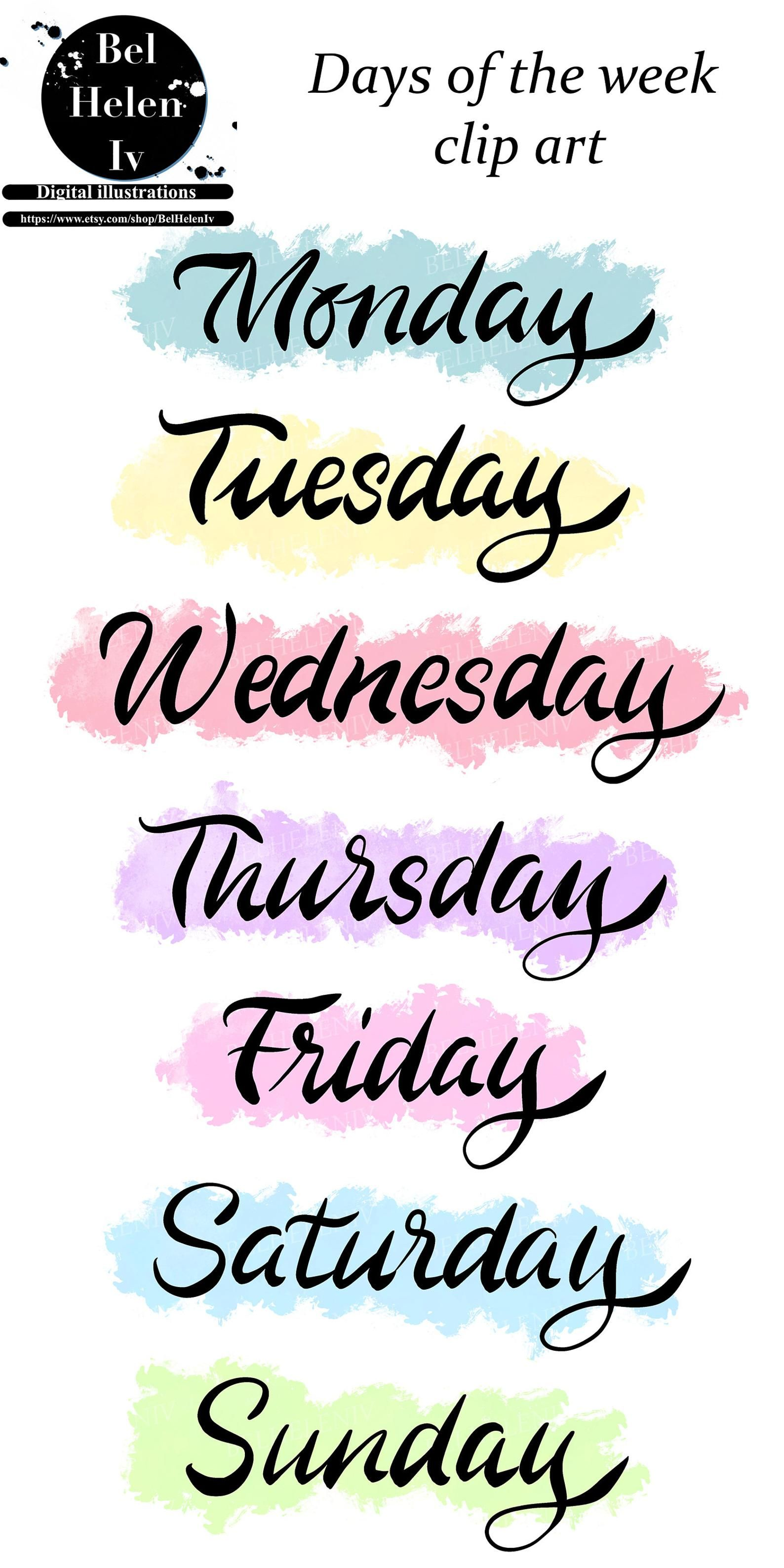 Days Of The Week Clip Art Words With Color Background Clip Etsy In 2021 Bullet Journal Lettering Ideas Clip Art Bullet Journal Stickers